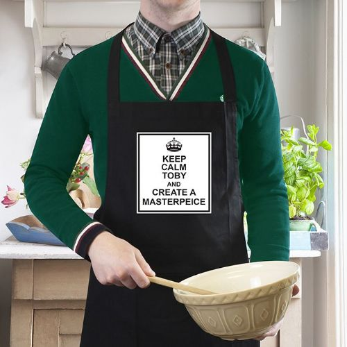 Personalised Keep Calm Black Apron